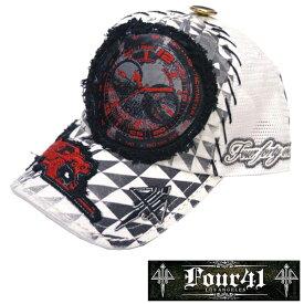 Four41 Los Angeles フォーフォーティーワン キャップ ワッペン ホワイト 061 インポート メンズ レディース 帽子 インポート セレブ セレカジ アメカジ ストリート サーフ LA セレブ Ed Hardy エドハーディー ファッション ROCK ロック スタイル 好きに◎