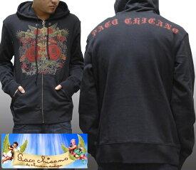 【セール】 パコ チカーノ メンズ パーカー ブラック Paco Chicano Freedom Peace トップス インポート LAセレブ ファッション ハリウッド セレブ カジュアル ストリート セレカジ エドハーディー Ed Hardy エドハーディ 姉妹 ブランド 海外セレブ 着用 ロック スタイル