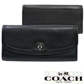 0d13d342e04e COACH コーチ 財布 長財布 ブラック パーカー レザー ターンロック スリム エンベロープ 小物 雑貨 インポート ファッション