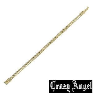 Crazy Angel クレイジーエンジェル 真鍮 ゲルマニウム 天然ダイヤモンド ブレスレット 21cm CAG-201-G21 ゴールドカラー へリンボーンチェーン 紋章 アクセサリー ジュエリー ブランド アクセ メン