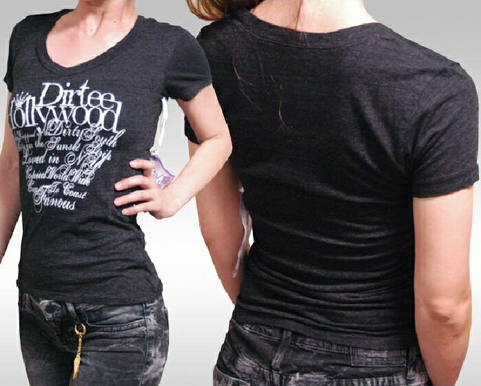 ダーティーハリウッド レディース Tシャツ Vネック Dirtee Hollywood BRANDED ブラック ホワイト LA セレブ Safari サファリ LEON レオン オーシャンズ 雑誌 掲載 ブランド ベッカム リンジー ローハン 芸能人 女優 俳優 多数着用 セレブ カジュアル スタイル ファッション
