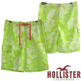 0940d59407f HOLLISTER ホリスター メンズ 水着 スイムパンツ 花柄 ライム ショーツ ハイビスカス ハーフパンツ 半ズボン ショート