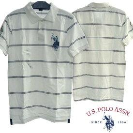 U.S. POLO ASSN ユーエスポロアッスン メンズ 半袖 ポロシャツ ボーダー ホワイト PONY ポニー カジュアル アメカジ スタイル ファッション