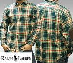 POLORALPHLAURENポロラルフローレンBOYSボーイズ長袖ネルシャツグリーンボタンシャツシャツPONYポニーラルフカジュアルアメカジスタイルファッション