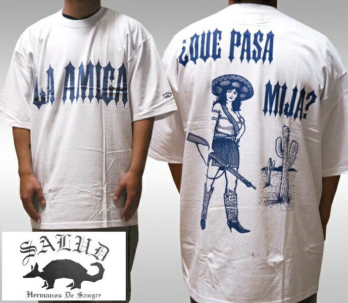 SALUD サルー メンズ Tシャツ ホワイト ブルー 010-2 ストリート ローライダー チカーノ ファッション ウェアー LA カジュアル スタイル ブランド ダックテイルズ シャネルズ ラッツ&スター クールス HIPHOP ヒップホップ B系 服 大きいサイズ セール 2L 2XL 3L 3XL 4L