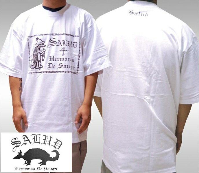 SALUD サルー メンズ Tシャツ ホワイト ブラック 018-1 ストリート ローライダー チカーノ ファッション ウェアー LA カジュアル スタイル ブランド ダックテイルズ シャネルズ ラッツ&スター クールス HIPHOP ヒップホップ B系 服 大きいサイズ セール 2L 2XL 3L 3XL 4L