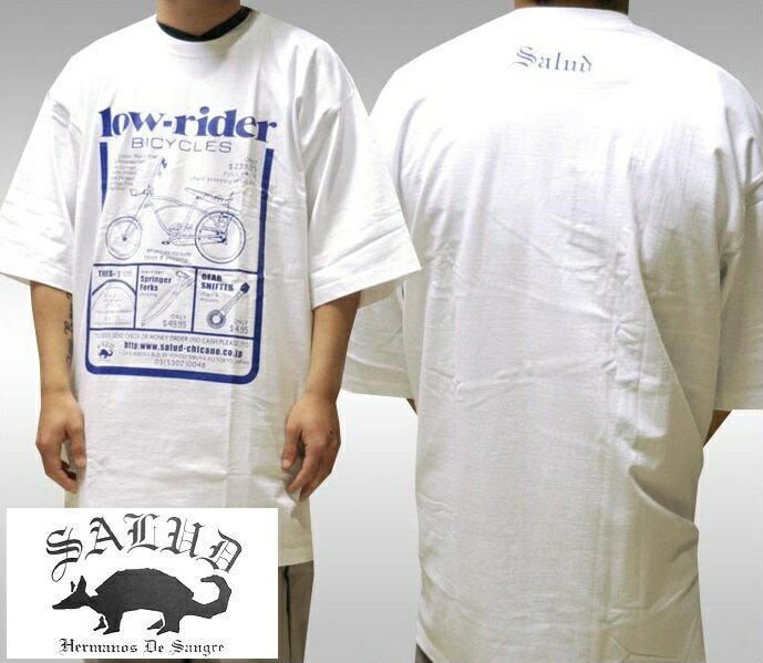 SALUD サルー メンズ Tシャツ ローライダー バイシクル ホワイト ブルー LOWRIDER BICYCLE ストリート チカーノ ファッション ウェア スタイル ブランド ダックテイルズ シャネルズ ラッツ&スター クールス HIPHOP ヒップホップ B系 大きいサイズ セール 2XL 3L 3XL 4L