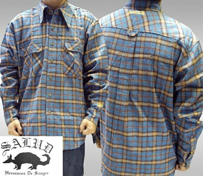SALUD サルー メンズ チェックシャツ ロングポイント ネルシャツ 長袖シャツ ストリート ローライダー チカーノ ファッション ウェアー スタイル ブランド ダックテイルズ シャネルズ ラッツ&スター クールス HIPHOP ヒップホップ B系 服 大きいサイズ 2L 2XL 3L 3XL 4L