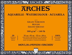 【20%OFF】ARCHESアルシュ 水彩紙ブロック 300g/m2荒目20枚 180×260mm