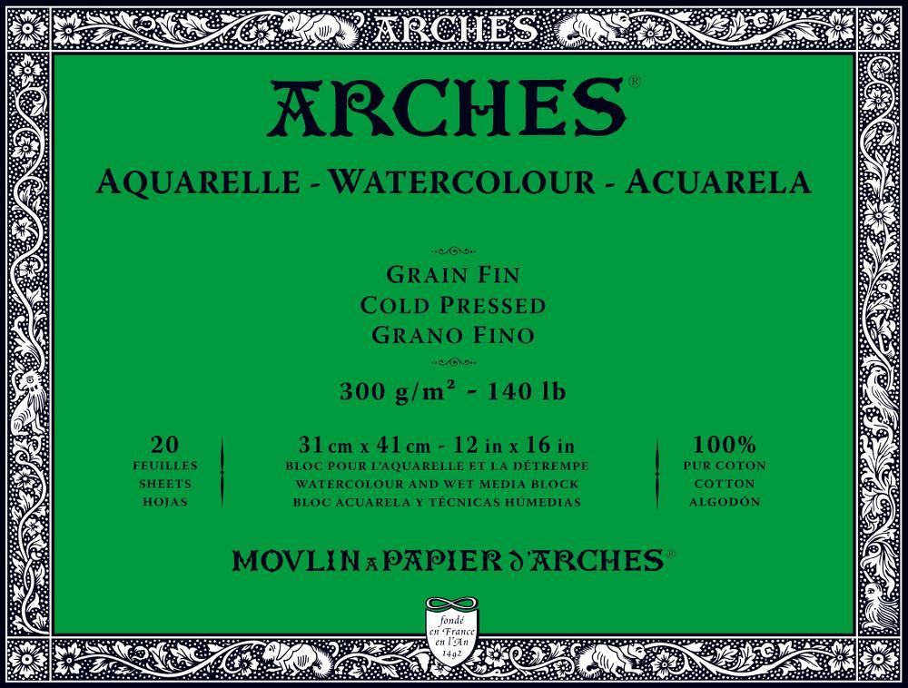 【20%OFF】ARCHESアルシュ 水彩紙ブロック 300g/m2『コールドプレス』細目(ファン)20枚 260×360mm