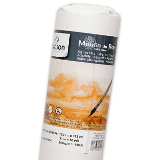 300 g/m2 of high-grade painting with watercolors paper Moulins do lower painting with watercolors paper roll 1,300*9,150mm coarse texture of キャンソンブランド