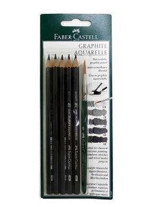 【専用筆付き】ファーバーカステル 水溶性グラファイト鉛筆5硬度セット