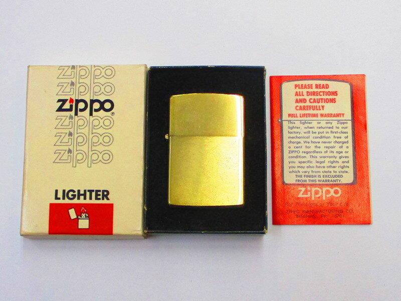 ビンテージZippo 金メッキ ブラッシュ仕上げ 無地 1979年製未使用 箱付き (M-792)