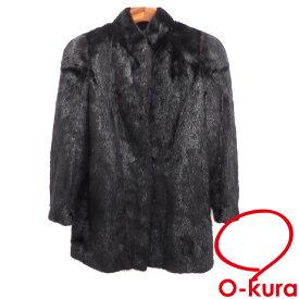 【中古】 サガミンク 毛皮 コート レディース 長袖 ミンクファー ブラック 黒 フリーサイズ ミディアム SAGA MINK