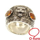 50111b546eae Gucci Gucci garden silver ring Lady's glass stone Ag925 9.5 #10 16.9 g GUCCI  ring SV925 orange cat tiger deep-discount pawnshop exemption from taxation  ...