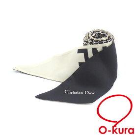 【中古】 クリスチャンディオール ミッツァ スカーフ レディース シルク 絹 ブラック ホワイト 千鳥格子 古着 アパレル