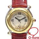 【中古】 ショパール 腕時計 ハッピースポーツ レディース クォーツ SS ダイヤモンド 革ベルト 27/8246-21 電池式 5P