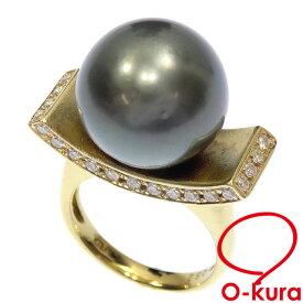 【中古】 パール ダイヤモンド リング レディース K18YG 12号 0.52ct 14.8mm 12.7g 18金 750 イエローゴールド 真珠 指輪