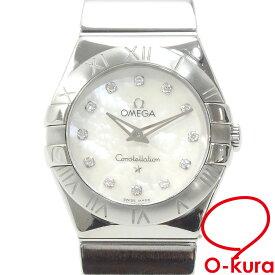 【中古】 オメガ 腕時計 コンステレーション レディース クォーツ SS ダイヤモンド 123.10.24.60.55.001 電池式 ホワイトシェル文字盤 白 123-10-24-60-55-001