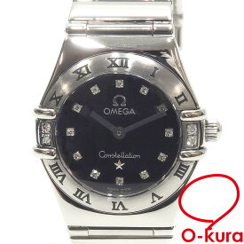 【中古】 オメガ 腕時計 コンステレーション ミニ マイチョイス レディース クォーツ SS 1566.56 電池式 12P ダイヤモンドインデックス