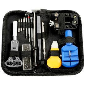 時計修理工具 13点 セット 腕時計工具 電池交換 ベルト調整 精密ドライバー 収納ケース付き