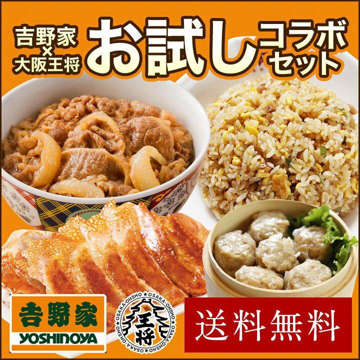 吉野家×大阪王将【送料無料】お試しコラボセット 牛丼/餃子/炒飯