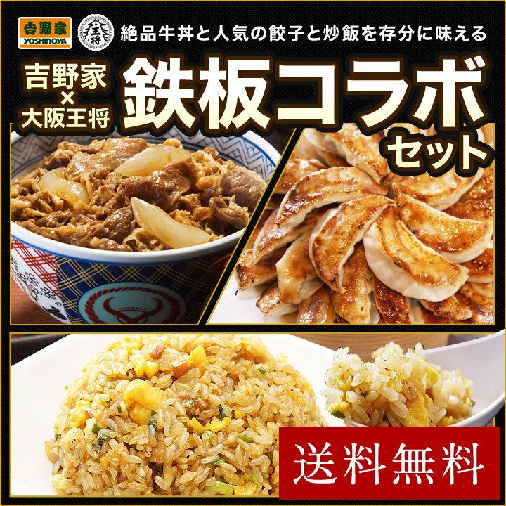 【送料無料】≪吉野家×大阪王将≫鉄板コラボセット 牛丼/餃子/炒飯