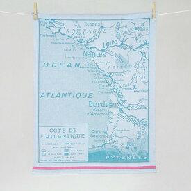 ティータオル カルト・アトランティック(地図) Tissage Moutet(ティサージュ・ムテ)キッチンファブリック