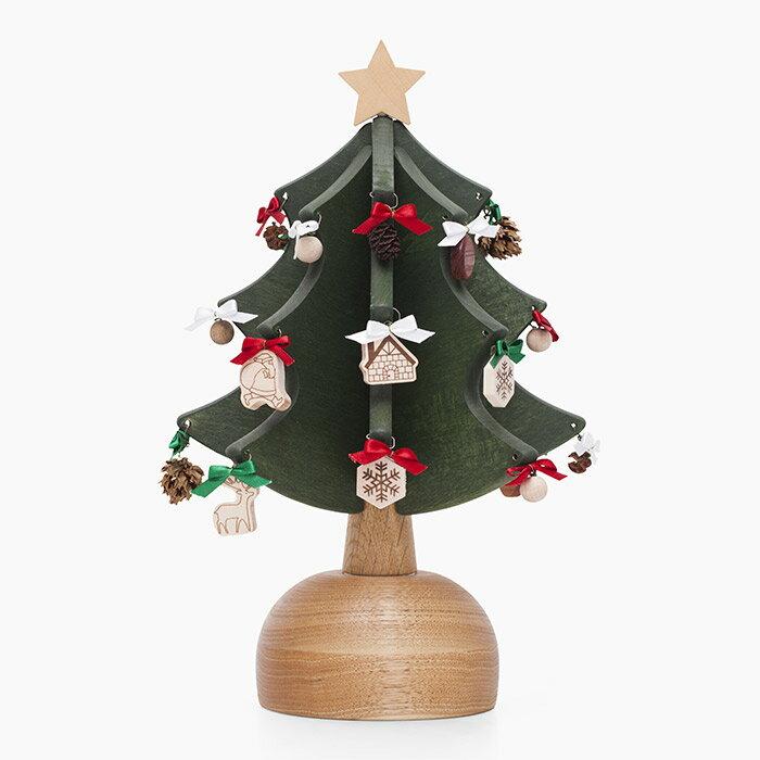 オルゴールツリー・プチ(グリーン)【木製】【日本製】【クリスマスツリー】【オルゴール】 【飛騨高山 オークヴィレッジ・Oak Village】