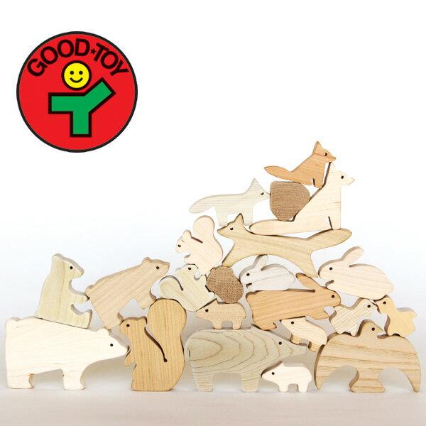 国産積木出産祝いにオススメ「森のどうぶつみき」【木のおもちゃ】【木製】【つみき】【つみ木】 【飛騨高山 オークヴィレッジ・Oak Village】