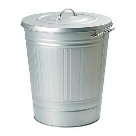 IKEA KNODD イケア ふた付き容器, 亜鉛メッキ 40L 002.189.28 ブリキ ゴミ箱