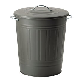 IKEA KNODD イケア ふた付き容器, グレー 40L 503.153.14 ブリキ ゴミ箱