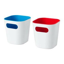 IKEA GESSAN イケア ボックス, ホワイト/レッド、ブルー 2ピース 903.718.26 【メール便不可】歯ブラシや歯みがき、ヘアピンなどを整理整頓するのに便利です。