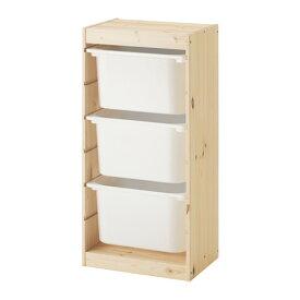 IKEA TROFAST イケア トロファスト おもちゃ箱 収納コンビネーション, ライトホワイトステインパイン, ホワイト 3段 892.408.84