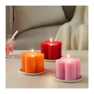 IKEAイケアSOMMAR2019ソマル2019香りなしブロックキャンドル、ピンク、オレンジ、レッド/3ピース904.182.49【メール便不可】