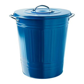 IKEA KNODD イケア クノッド ふた付き容器, ダークブルー 40L 504.402.09 ブリキ ゴミ箱