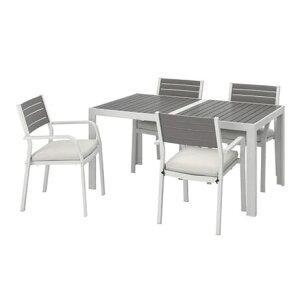 【NEW】IKEAイケアSJLLAND シェランドテーブル チェア アームレスト付き4脚、屋外用, ダークグレー フローソーン デューヴホルメン ベージュ892.655.01