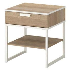 イケア IKEA TRYSIL トリスィル ベッドサイドテーブル, ホワイトステインオーク調, ホワイト45x40 cm 403.717.58【メール便不可】