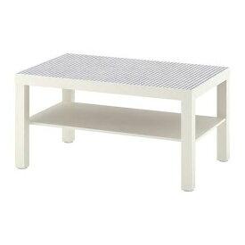 IKEA イケア LACK コーヒーテーブル ホワイト, チェック模様 90x55cm 504.271.18