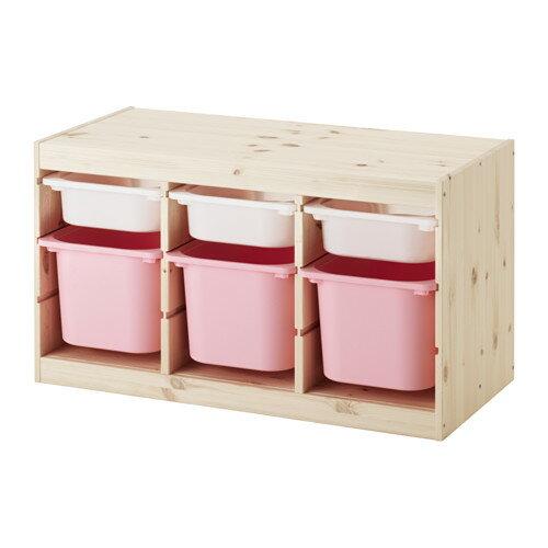 IKEA TROFAST イケア トロファスト おもちゃ箱 収納コンビネーション, パイン材 ホワイト, ピンク