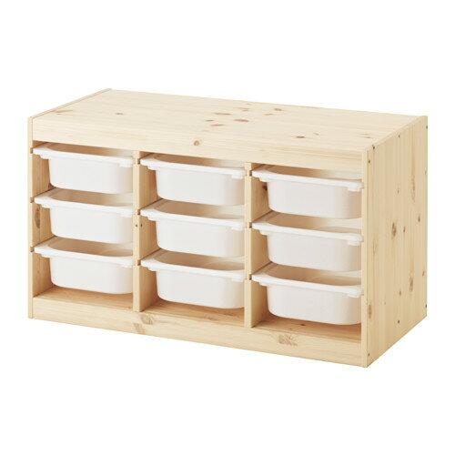 IKEA TROFAST イケア トロファスト おもちゃ箱 収納コンビネーション, パイン材 ホワイト 592.408.71