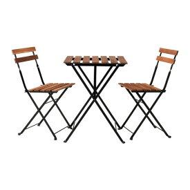 イケア テルノー IKEA TARNO テーブル&チェア2脚 屋外用, ブラック アカシア材, スチール グレーブラウンステイン 498.984.16