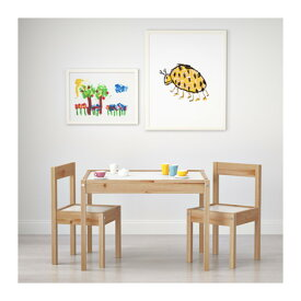 IKEA LATT イケア 子供用テーブル チェア2脚付, ホワイト, パイン材 101.784.13