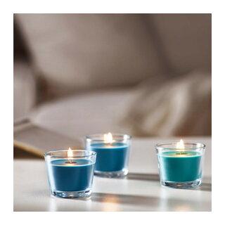 IKEABRACKA香り付きキャンドルグラス入り,ターコイズココナッツ,ターコイズ202.776.53【メール便不可】