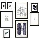 IKEA KNOPPANG イケア クノッペング ポスター付きフレーム8個セット, ブラック 504.220.74