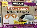 コストコ カークランド ひも付きごみ袋 ゴミ袋 49.2Lx200枚KIRKLAND SIGNATUURE DRAWSTRING BAG