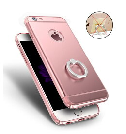 iPhone6s ケース iPhone6 ケース カバー アイフォン6プラス アイフォン6s アイフォン6 スマホケース シンプル 耐衝撃 オシャレ かっこいい ピンク クール 大人 軽量 薄い 落下防止 リング 付き ハードケース メッキ 3パーツ式【thxgd_18】