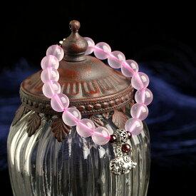 [O-stone] 天然石 パワーストーン 9.5mm玉 極品 マダガスカル産 ローズクォーツ (ピンク水晶) かわいい系 きれい系 十二干支 十二支 干支 チベットシルバー付き ディザインにこだわり 円珠 ブレスレット【thxgd_18】