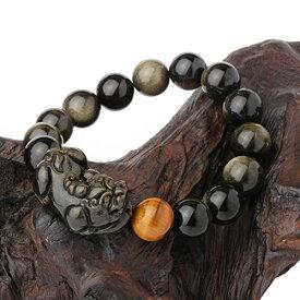 [O-stone][Apachi] AAA級 金曜石 ゴールデン・オブシディアン と タイガーアイ ブレスレット ダブル貔貅付き 直径12mm 玉 財運アップ 【SUMMER_D1808】