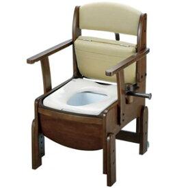 木製トイレ きらく コンパクト 固定式肘掛けタイプ 普通便座 18510 リッチェル